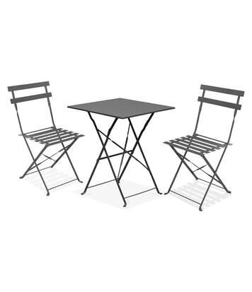 Table bistrot de jardin et 2 chaises pliantes, Rome