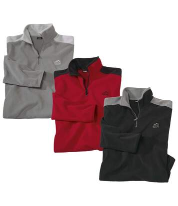 Pack of 3 Men's Half Zip Microfleece Jumpers - Black Red Grey