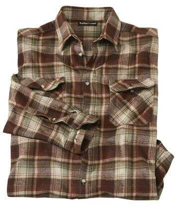 Men's Brown Checked Flannel Shirt