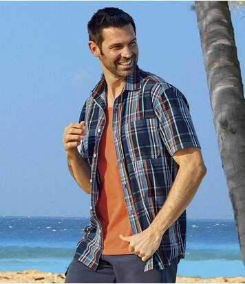 Men's Casual Checked Shirt - Blue Orange