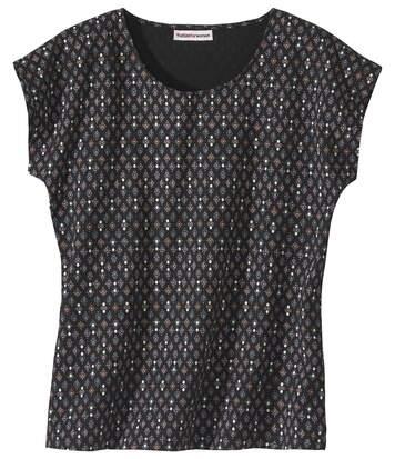 Women's Black Microprint T-Shirt