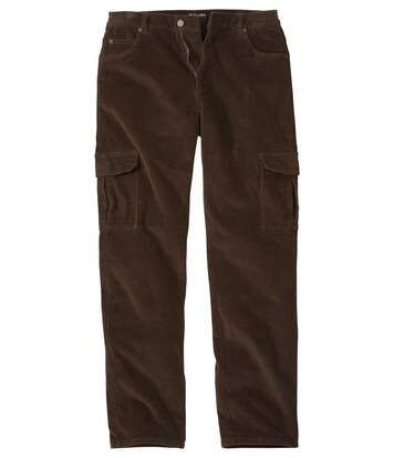 Men's Brown Stretch Cargo Corduroy Trousers