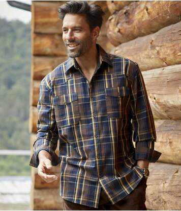 Men's Brown Checked Shirt