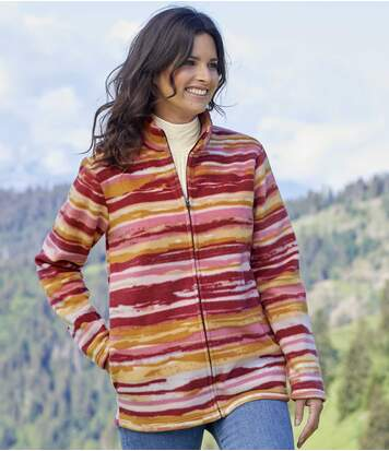 Women's Striped Full Zip Fleece Jacket - Pink Red Orange