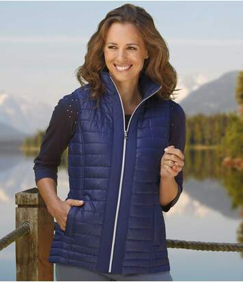Women's Blue Sleeveless Padded Gilet