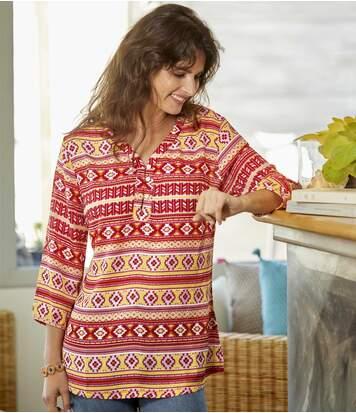 Kleurrijke blouse van mousseline met Azteken print
