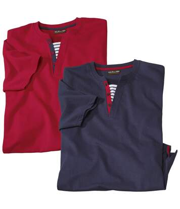 Pack of 2 Men's Dual Collar T-Shirts - Navy Red