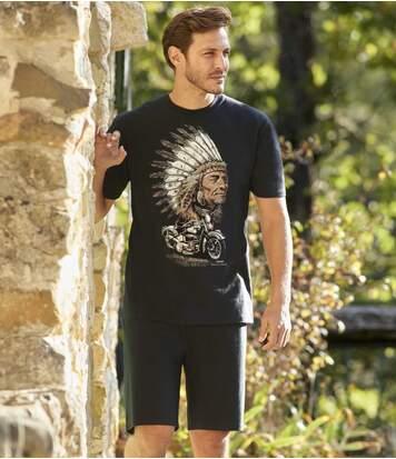 Men's Black Short Pyjama Set - Biker Print