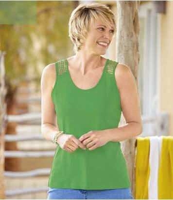 Pack of 2 Women's Macramé Vest Tops - Pink Green