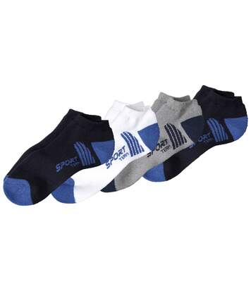 Pack of 4 Men's Trainer Socks - Navy Grey White