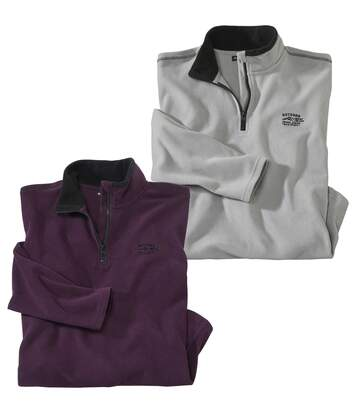 Pack of 2 Men's Half Zip Microfleece Jumpers - Grey Purple