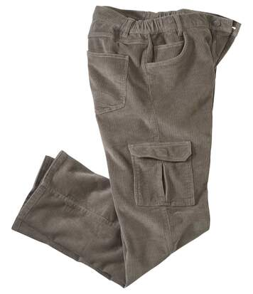 Men's Grey Corduroy Cargo Trousers