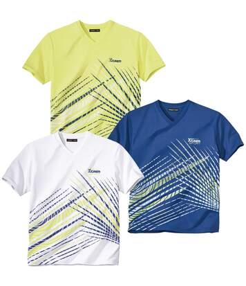 3er-Pack T-Shirts Sport mit V-Ausschnitt