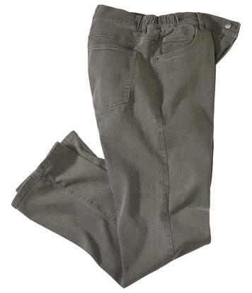 Graue Komfort-Jeans mit halbelastischem Bund