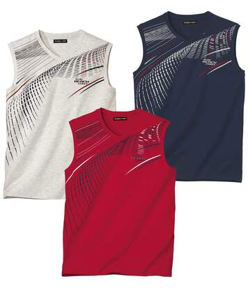 Pack of 3 Men's Surf Beach Vests - Red Navy Ecru