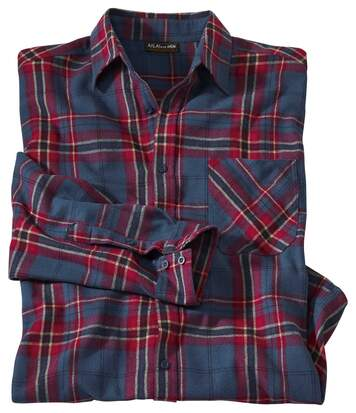 Men's Checked Flannel Long Sleeve Shirt - Blue Red Beige