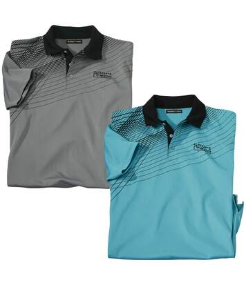 Pack of 2 Men's Sporty Polo Shirts - Grey Turquoise