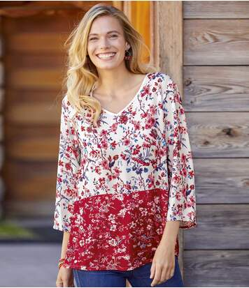 Women's Floral Crepe Blouse - Red Off-White