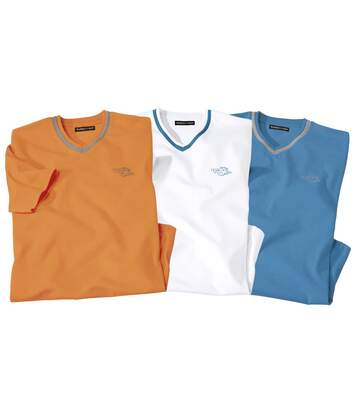 Pack of 3 Men's Team Surf T-Shirts - White Blue Orange
