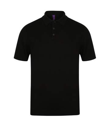 Henbury Mens Knitted Short Sleeve Polo Shirt (Black) - UTPC2958