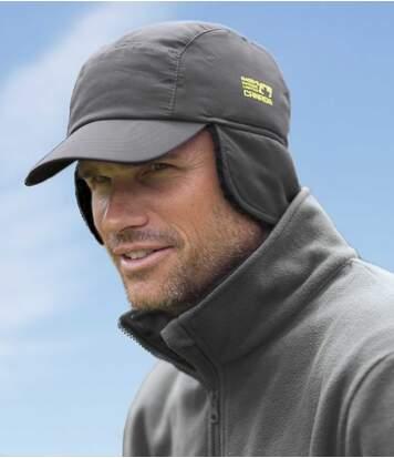 Men's Grey Sherpa-Lined Cap