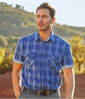 Popelinowa koszula w niebieską kratę