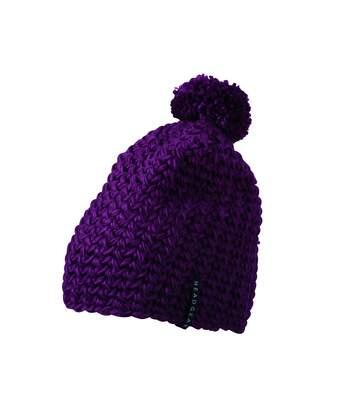 Bonnet grosse maille à pompon - MB7939 - violet pourpre