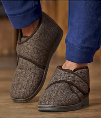 Pánske zateplené vyššie papuče na suchý zips