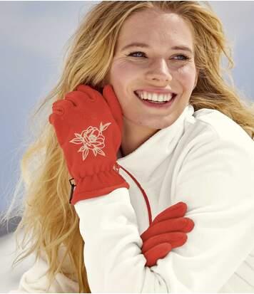 Bestickte Fleece-Handschuhe