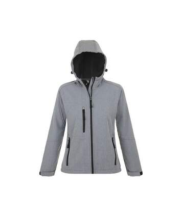 SOLS Womens/Ladies Replay Hooded Soft Shell Jacket (Breathable, Windproof And Water Resistant) (Grey Marl) - UTPC411