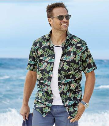 Men's Hawaiian Shirt - Black Green