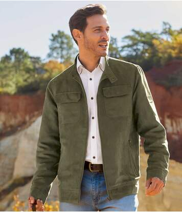 Men's Full Zip Faux-Suede Jacket - Khaki - Water-Repellent