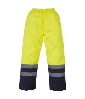 Yoko Mens Hi Vis Waterproof Overtrousers (Yellow/ Navy) - UTRW4682