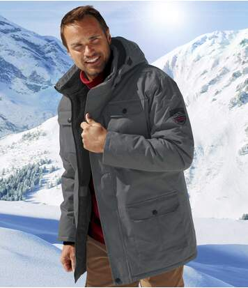 Men's Grey Winter Snow Multi-Pocket Parka