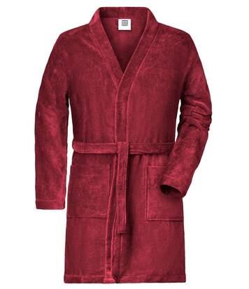 Peignoir court en coton bio peigné pour homme - MB448 - rouge orient