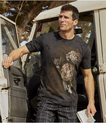 Men's Dark Brown Panther Tie-Dye T-Shirt