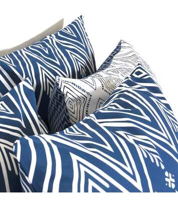 Parure de lit 260x240 cm 100% coton NORDA Bleu 3 pièces