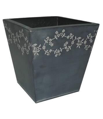 Jardinière carrée en zinc fleurie Hauteur 22.5cm