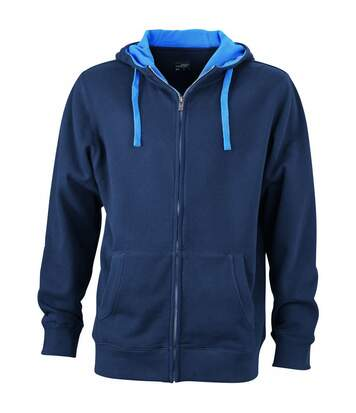 Sweat zippé à capuche homme - JN963 - bleu marine