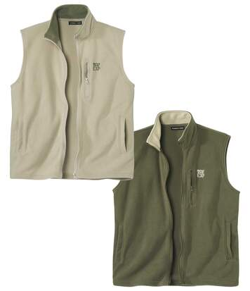 Pack of 2 Men's Microfleece Gilets - Full Zip - Khaki Beige