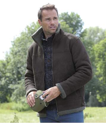 Men's Sherpa-Lined Faux-Suede Jacket - Full Zip