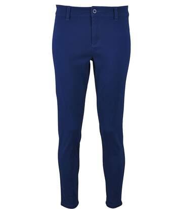 pantalon toile stretch femme - 01425 7-8ème - bleu outremer