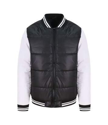 Doudoune zippée contrastée homme - JH049 - noir et blanc