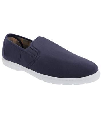 Scimitar Mens Twin Gusset Slip On Casual Textile Shoes (Navy Blue Denim) - UTDF611