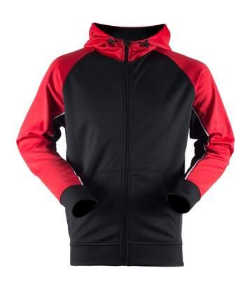Finden & Hales Mens Moisture Wicking Panelled Sports Hoodie (Black/Red/White) - UTRW4690