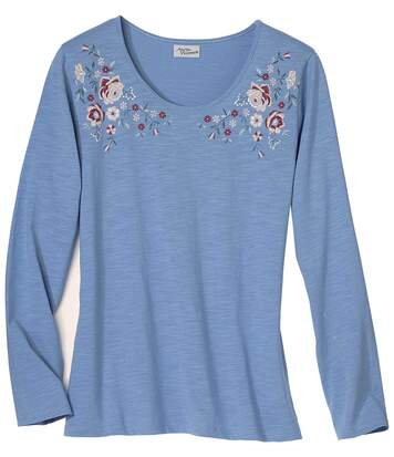 Women's Blue Long Sleeve Top - Floral Motif