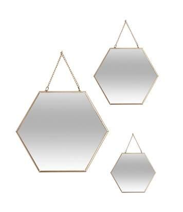 Atmosphera - Lot de 3 miroirs hexagonales or