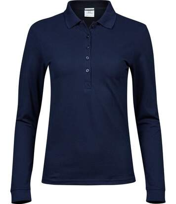 Polo femme luxury stretch - 146 - bleu marine - manches longues