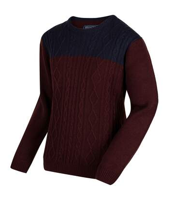 Regatta Mens Koby Mid Weight Cable Knit Sweater (Bitter Chocolate/Navy) - UTRG3082