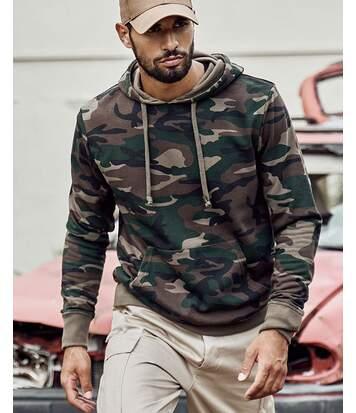 Sweat hoodie à capuche motifs camouflage kaki pour homme